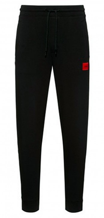HUGO Jogginghose Doak212 aus Baumwolle mit rotem Logo-Patch schwarz 001