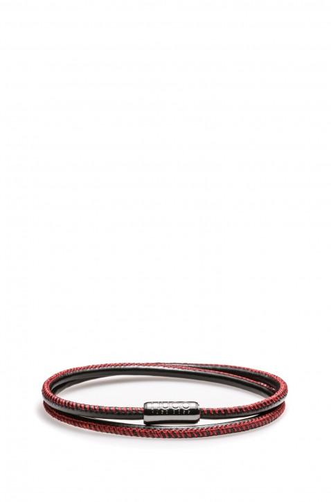 HUGO Armband E-ELEMENT aus italienischem Leder mit magnetischem Druckknopf Farbe rot 965