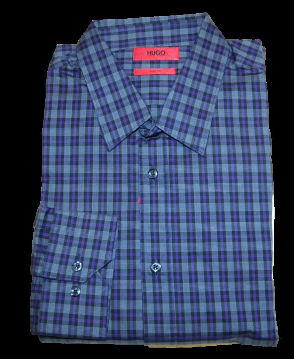 HUGO Slim-Fit Karo Hemd ELISHA aus Baumwolle mehrfabig 971