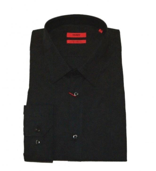 HUGO  Slim-Fit Hemd ELISHA aus Baumwolle mit Jacquard- Camouflage Muster schwarz 001