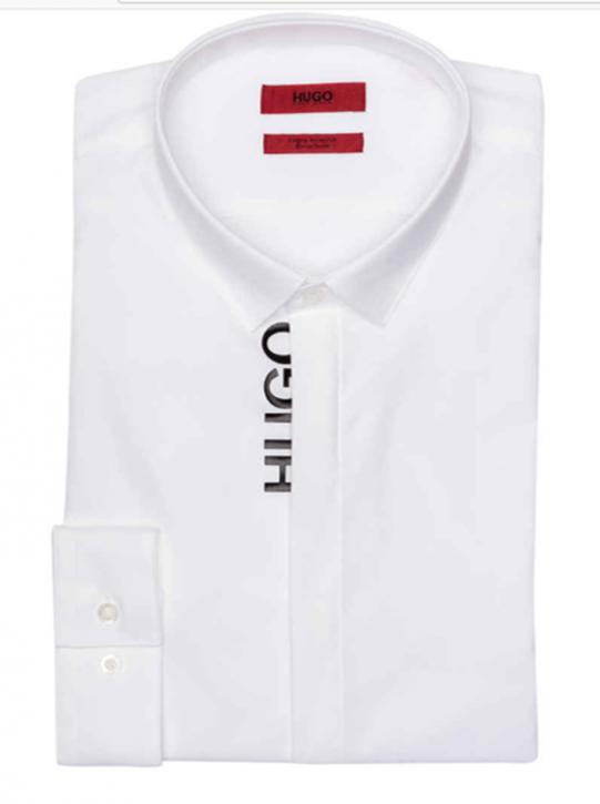 HUGO Hemd ERNIE Extra Slim Fit mit verdeckter Knopfleiste und Hugo Logo weiss 199