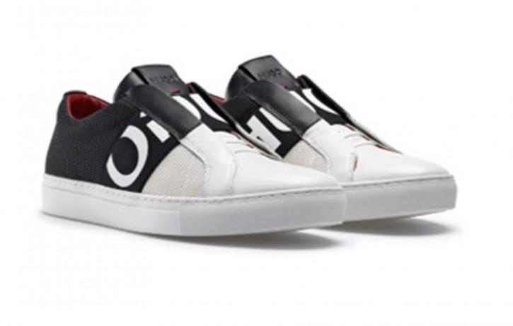 HUGO Slip-on Sneakers FUTURISM_SLON_MXL aus Mesh und Leder mit Logo-Band schwarz 120
