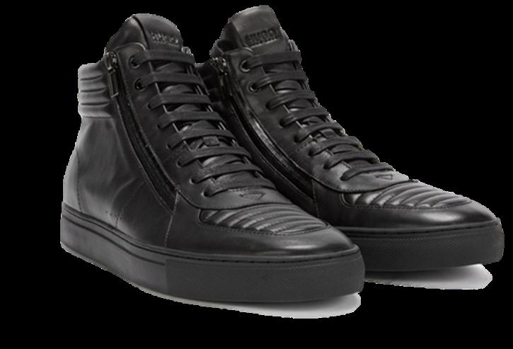 HUGO Hightop Sneaker Futurism_Hito_ltmtzp aus gepolstertem Nappaleder mit Schnürung Farbe schwarz 001