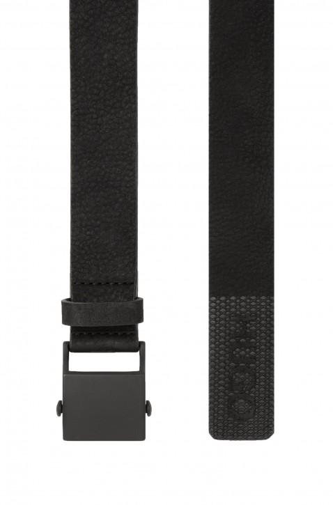 HUGO Gürtel Gabum-Nu_Sz35 aus Nubukleder mit lackierter Schließe schwarz 001