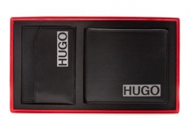 HUGO Geschenk-Set GbH_4ccS card shade aus Geldbörse und Kartenetui mit Logo-Print