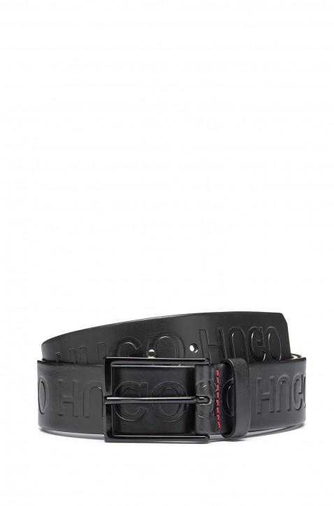 HUGO Ledergürtel Giaci_Sz40 mit spiegelverkehrter Logo-Prägung schwarz 001