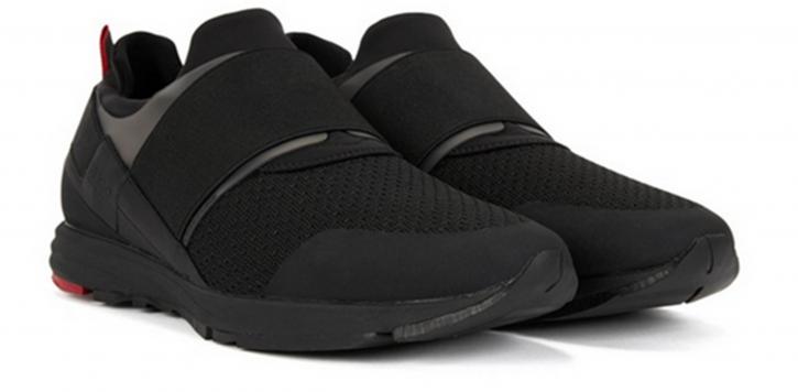 HUGO Sneaker HYBRID_RUNN_KNEL Material-Mix mit elastischem Riemen Farbe schwarz 001