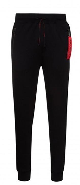 HUGO Jogginghose Deasty aus Interlock-Baumwolle mit spiegelverkehrtem Logo-Aufnäher schwarz 001
