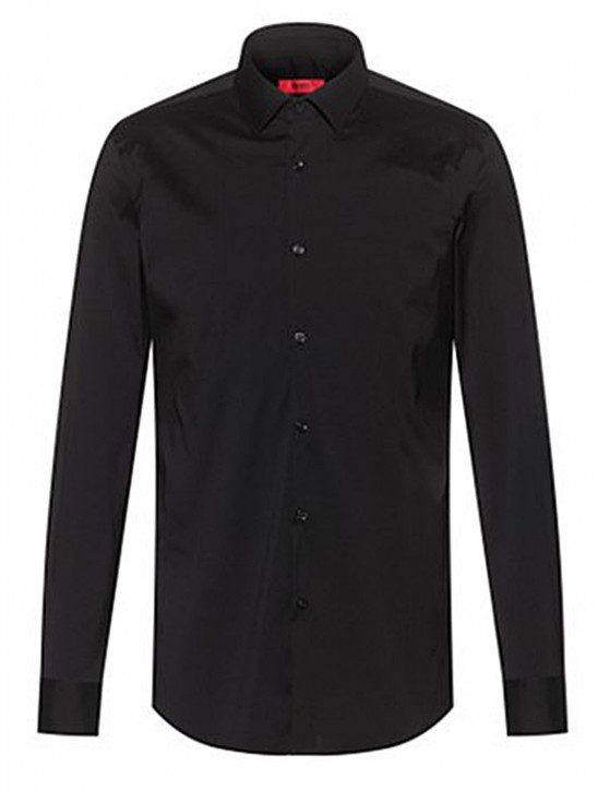 HUGO Slim-Fit Hemd KENNO aus elastischem Baumwoll-Mix schwarz 001