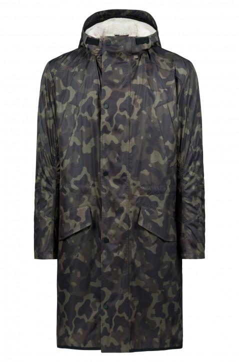 HUGO Regular-Fit Mantel MASK 1841 mit Camouflage-Print und herausnehmbarem Kunstfell-Innenfutter 301
