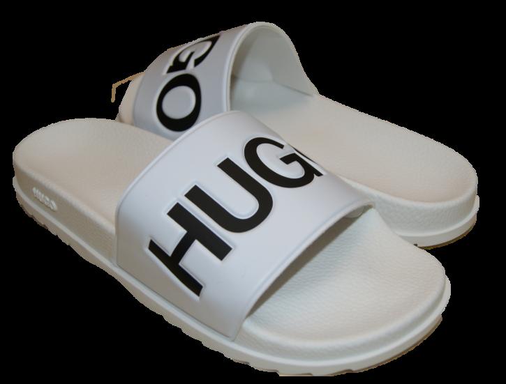 HUGO In Italien gefertigte Slides MATCH_SLIDE_DM mit Logo-Riemen und konturiertem Fußbett weiss 120