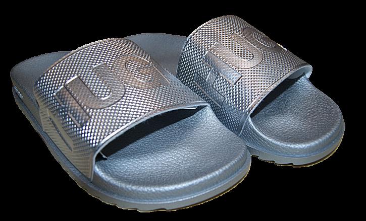 HUGO In Italien gefertigte Slides MATCH_SLIDE_DM mit Logo-Riemen und konturiertem Fußbett silber 040