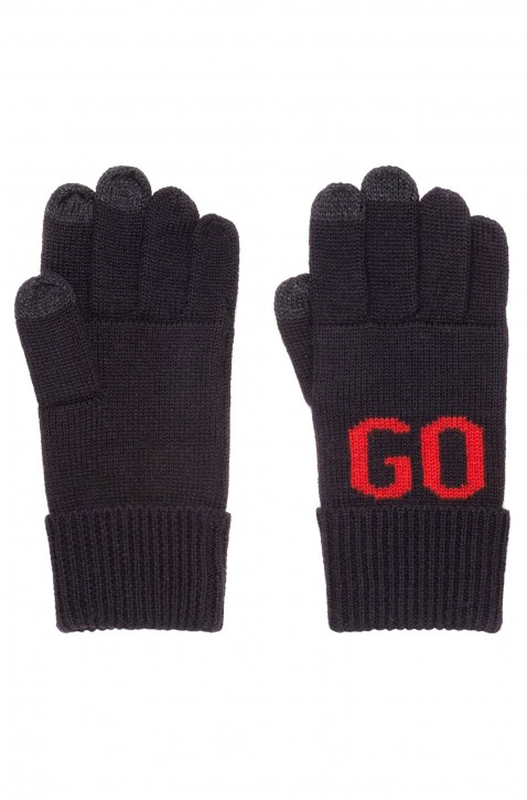 HUGO Handschuhe Men-W 18 aus Woll-Mix mit Touchscreen-Funktion und Logo SCHWARZ 001