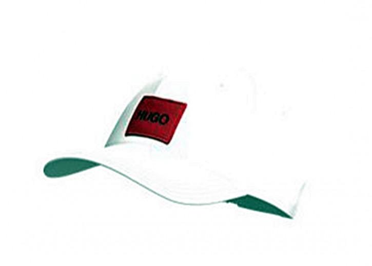 HUGO Cap Men-X 576 aus Baumwoll-Twill mit rotem Hugo Logo-Patch weiss 100