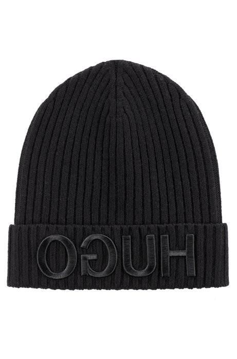 HUGO Wollmütze Unisex-x 537mit Reversed-Logo schwarz