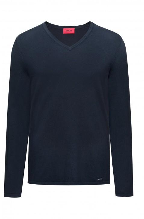HUGO Pullover San Vitalo mit V-Ausschnitt aus Baumwoll-Mix mit Seide dunkelblau 410
