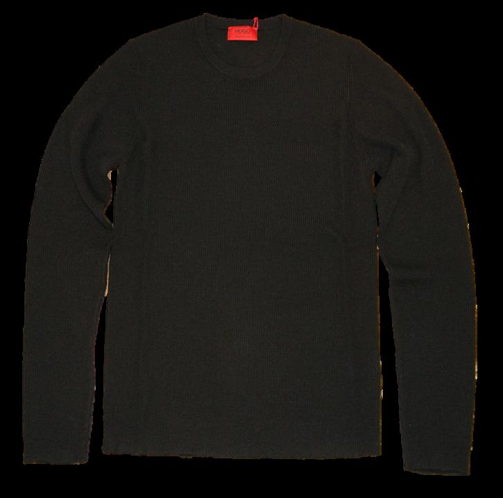 HUGO Rippstrick Pullover SAROW aus Schurwolle mit Muster Farbe schwarz 001