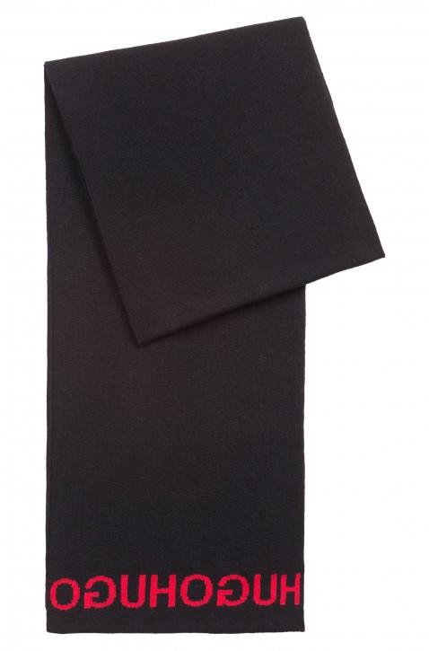 HUGO Strickschal Men-Z 472 mit Reversed-Logo aus Jacquard schwarz
