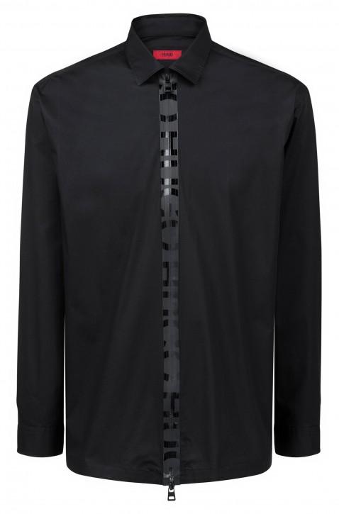 HUGO Oversized Hemd EIRY mit Logo-Streifen am Reißverschluss schwarz
