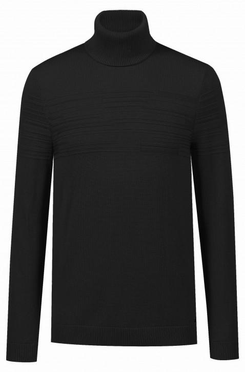 HUGO Rollkragenpullover SISEALON aus Baumwoll-Schurwoll-Mix Farbe schwarz 001