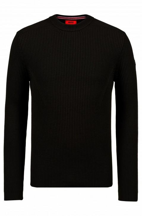 HUGO Pullover SLOGEN aus Schurwolle mit Military-Details Farbe schwarz 001