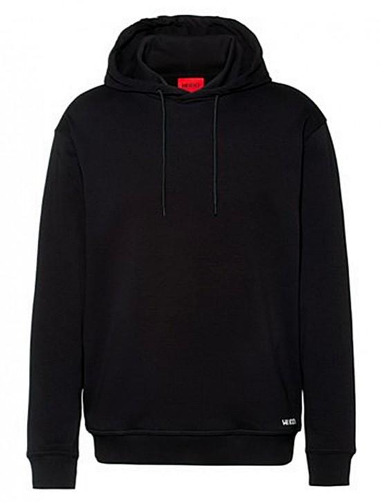 HUGO Relaxed-Fit Sweatshirt Dayfun211 aus Baumwolle mit abgeschnittenem Logo an der Kapuze schwarz 001