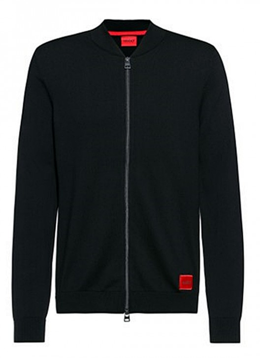 Hugo Bosss Regular-Fit Bomberjacke San Jaque mit rotem Logo-Label  schwarz 001