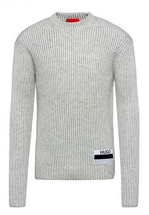 Hugo Boss Gerippter Pullover Shairo mit Manifesto-Logo grau 107