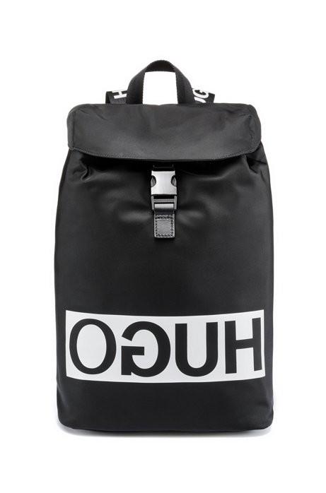HUGO Rucksack Tribute_Backpack aus Nylon-Gabardine mit Lederbesatz und Reversed-Logo schwarz 001