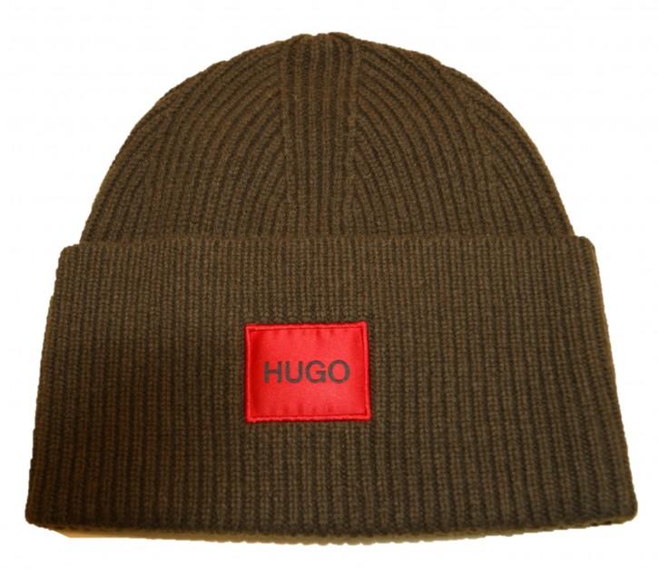 HUGO Unisex-Mütze Xaff 4 aus Woll-Mix mit Hugo Logo-Label  Farbe oliv 304