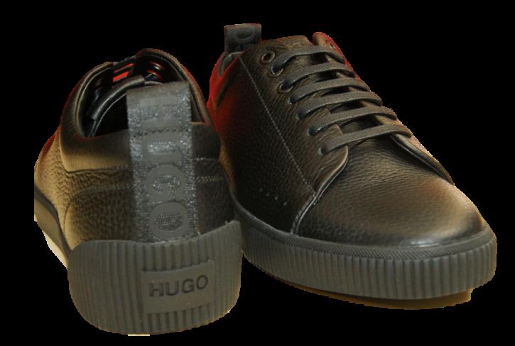 HUGO Lowtop Sneakers ZERO_TENN_GR aus Nappaleder schwarz 001