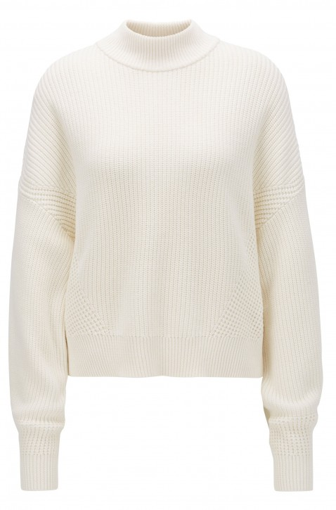 BOSS Pullover LSMENI aus geripptem Strick in Cropped-Länge  Farbe natur 118