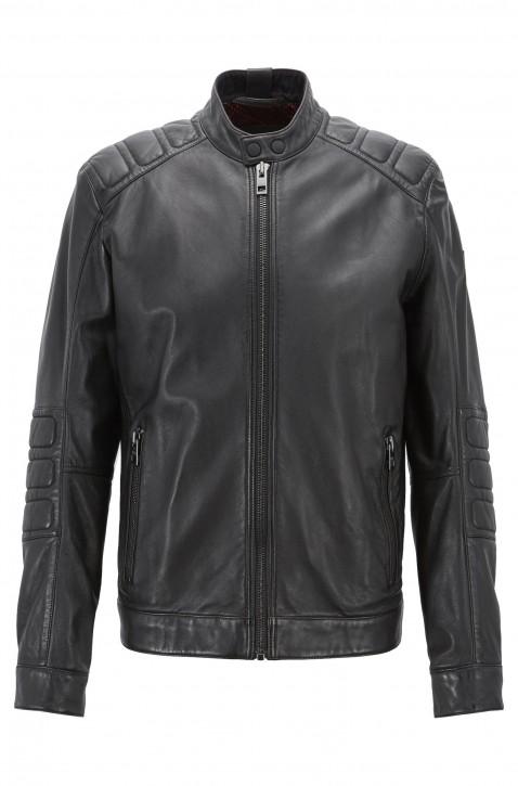 BOSS Slim-Fit Bikerjacke JAGSON5 aus leicht gewachstem Leder schwarz
