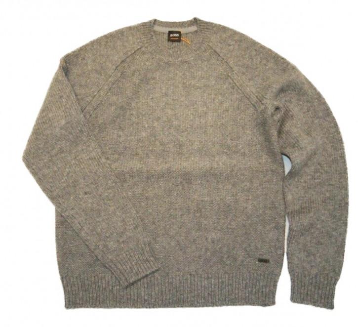 BOSS  Grobstrick Pullover KARIGURO mit Rundhalsausschnitt grau 051