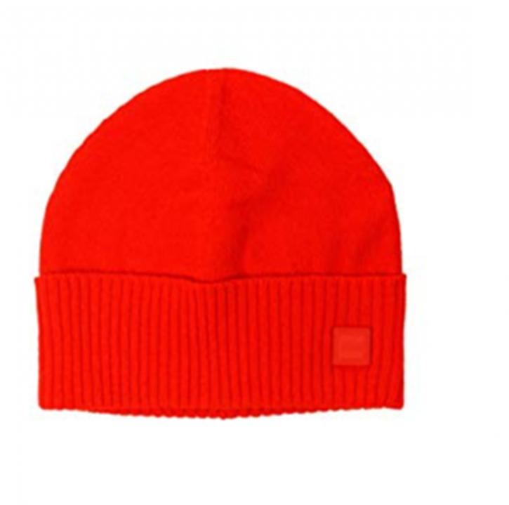 BOSS Feinstrick-Mütze Kotapran mit geripptem Saumaufschlag rot 644