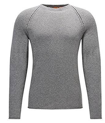 BOSS ORANGE Regular-Fit Strickpullover KOHEDGE  aus italienischem Baumwoll-Mix mit Wolle Farbe grau 051