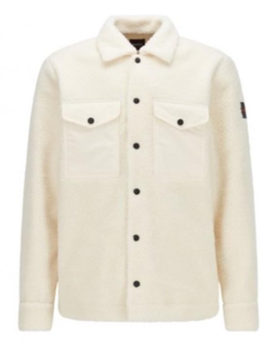 Hugo Boss Oversized Overshirt Lom_1 aus Teddy-Kunstfell weiß 131