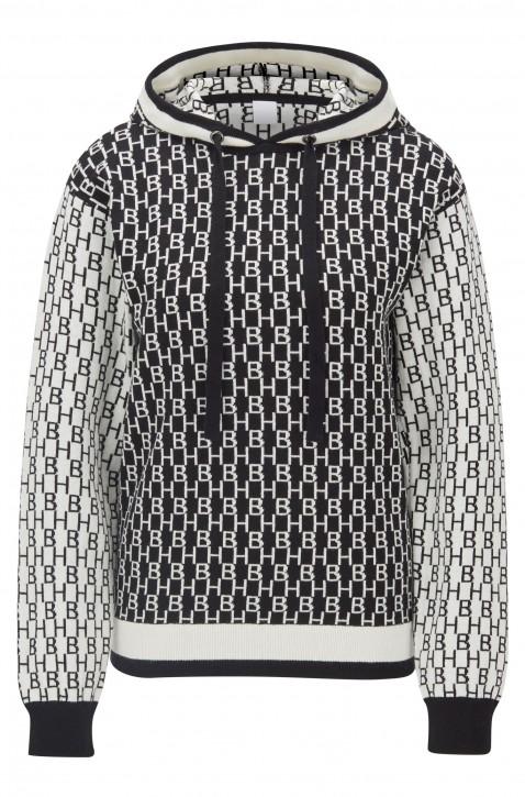 BOSS Kapuzen-Pullover Ionela aus Baumwolle mit Kamelwolle und Monogramm-Motiv