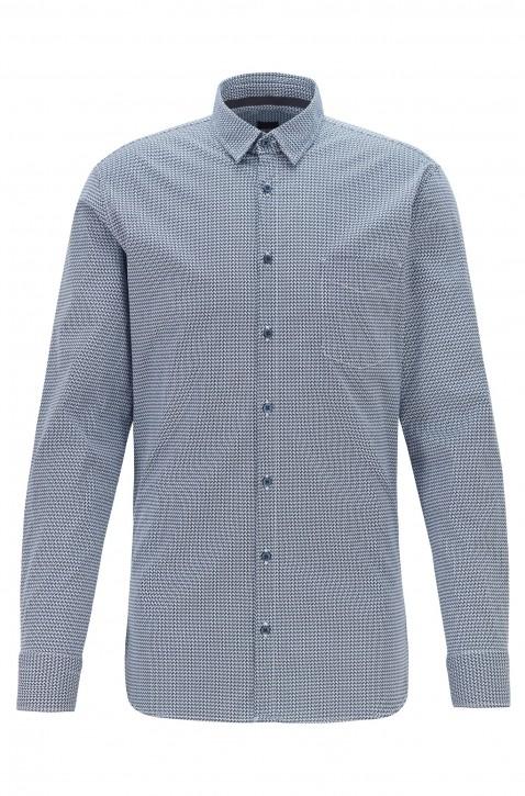 HUGO BOSS Slim-Fit Hemd MAGNETON_1 aus Stretch-Baumwolle mit geometrischem Print blau 405