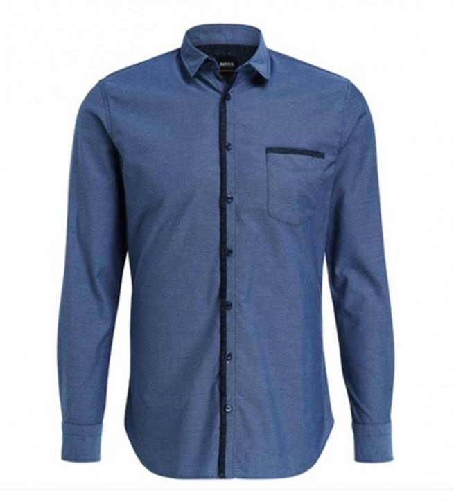 BOSS Muster Slim-Fit Hemd MAGNETON aus Baumwolle mit Kontrast-Details Farbe dunkelblau 404