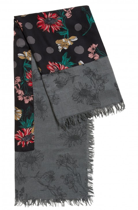 BOSS Schal NAJANA mit Blumen-Print und Bordüre aus Seide