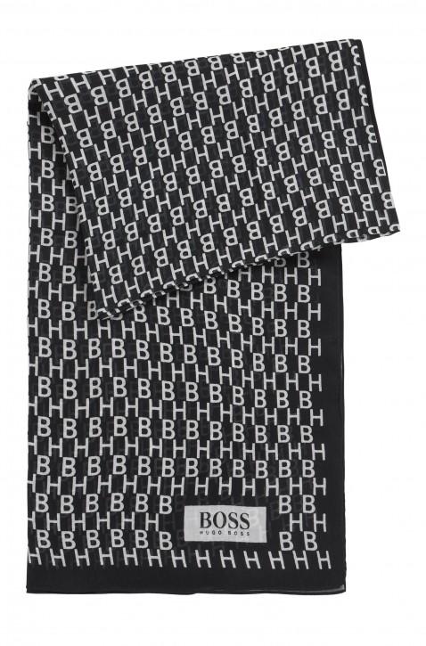 BOSS Schal NAMEGAHN aus Baumwolle mit Modal  und Hugo Boss logo schwarz 001