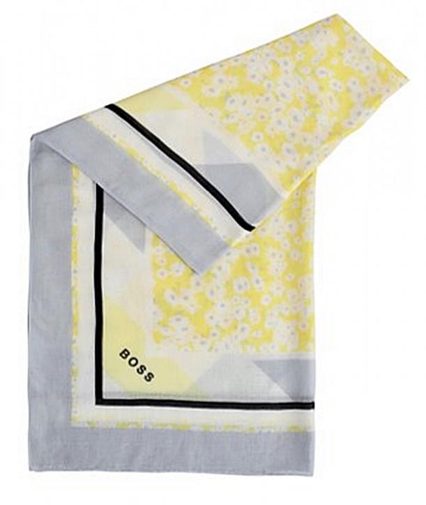 BOSS Quadratischer Schal NATYPE aus gemusterter Baumwolle mit Modal gemustert gelb