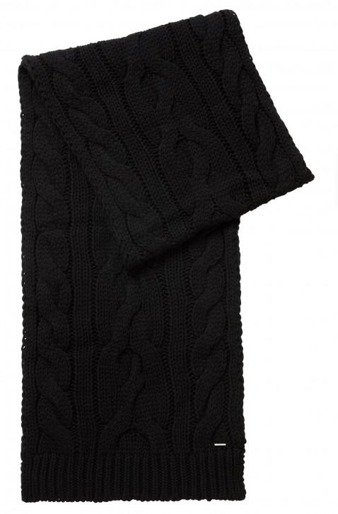 BOSS Schal NEOSA mit Zopfmuster aus Woll-Mix Farbe schwarz