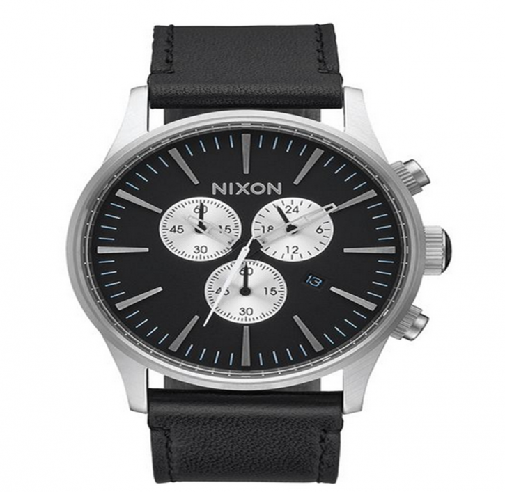NIXON Sentry Chrono Leather 42 mm Farbe black