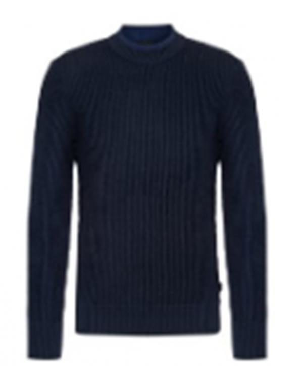 Hugo Boss Pullover Nebail aus Baumwolle mit Rundhalsausschnitt und Grobstrick Optik dunkelblau 404
