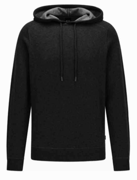 Hugo Boss Kapuzen-Sweatshirt Neptune aus Baumwolle und Wolle mit kontrastfarbener Innenseite schwarz 001