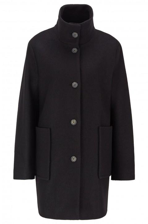 BOSS Regular-Fit Mantel OKTOBER aus gekochter Schurwolle schwarz