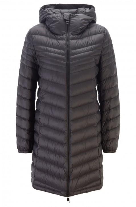 BOSS Regular-Fit Mantel OREVEAL mit Kapuze und Dégradé-Absteppungen schwarz 001