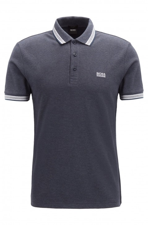 HUGO BOSS Regular-Fit Polo PADDY mit Drei-Knopf-Leiste blau meliert  487